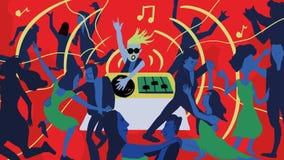 Tanzende Szenenillustration unter der Schirmherrschaft der Stangenmusik DJ lizenzfreie abbildung