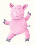 Tanzendes rosafarbenes Schwein Lizenzfreies Stockbild