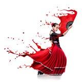 Tanzenflamenco der jungen Frau mit Farbe spritzt lokalisiert auf Whit Stockfotos