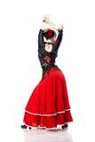 Tanzenflamenco der jungen Frau von der Rückseite getrennt Stockfotos
