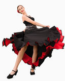 Tanzenfrau ungefähr zum zu spinnen lizenzfreie stockfotos