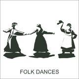 Tanzenfrauen im Trachtenkleid Lizenzfreies Stockfoto