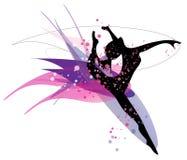 Tanzenfrauenschattenbild Stockfoto