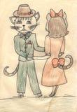 Tanzenkatzen, Kindzeichnen stock abbildung