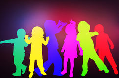 Tanzenkinderschattenbilder Stockfotografie