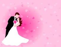 Tanzenpaare mit rosafarbenem Hintergrund Lizenzfreie Stockfotografie