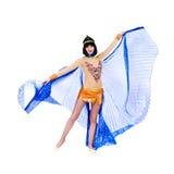 Tanzenpharaofrau, die ein ägyptisches Kostüm trägt. Lizenzfreie Stockbilder