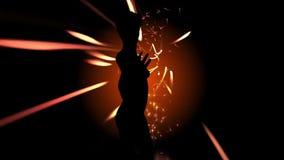 Tanzenschattenbild mit Partikelstrahlen lizenzfreie abbildung