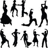 Tanzleuteschattenbild Stockbild