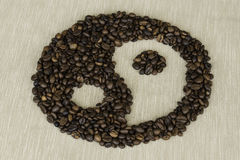 Tao coffee. Tao symbol made ​​with coffee beans Stock Images