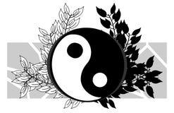 Tao på isolerad konstnärlig blom- garnering royaltyfri illustrationer