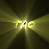 Tao word shining sun light flare. Tao character is a Chinese philosophy meaning Path or Code of behavior shine with powerful sunlight halo. Extended flares for Stock Images