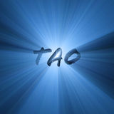 Tao word symbol shining light flare. Tao character with powerful blue light halo. Extended flares for cropping. Tao is a Chinese philosophy translated as Path or Royalty Free Stock Image