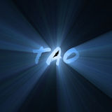 Tao word bright light flare. Tao character with powerful blue light halo. Extended flares for cropping. Tao is a Chinese philosophy meaning Path or Code of stock illustration