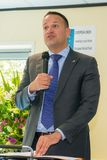 Taoiseach Leo Varadkar die bij een presentatie in Dublin spreken Stock Foto