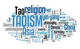 Taoism. Chinese religious or philosophical tradition. Asian culture. Word cloud sign Stock Photo
