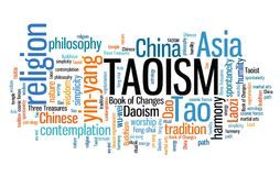 Taoism. Chinese religious or philosophical tradition. Asian culture. Word cloud sign Royalty Free Stock Photos