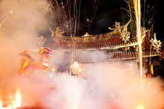 Taoism festival - fire lion Stock Images