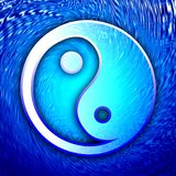 Taoism symbol. Taoism concept: The yin & yang symbol over abstract blue background Royalty Free Stock Photos