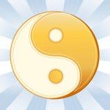 Taoism Symbol. Golden Yin Yang mandala of Tao faith on a blue sky rays background Royalty Free Stock Photo