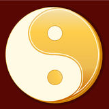 Taoism Symbol. Golden Yin Yang mandala of Tao faith on a red background Stock Photo