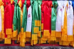 Taoist-Gebets-Bänder im See Tai Wuxi China lizenzfreies stockbild