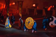 Taoist monks from Wudang (China) stock image