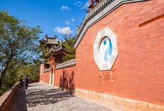 Taoist temple in the Mountain Hengshan(Northern Great Mountain). Royalty Free Stock Image
