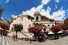 Taormia San Giuseppe kyrka, Sicilie Fotografering för Bildbyråer