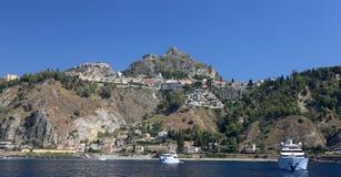 Taormin and Giardini Naxos. View of Taormin and Giardini Naxos Royalty Free Stock Image