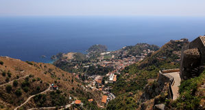 Taormin and Giardini Naxos Royalty Free Stock Images