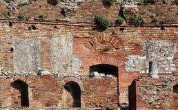 taormina,废墟古希腊剧院  图库摄影