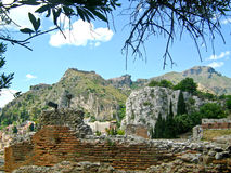 Taormina, ελληνικό ρωμαϊκό θέατρο, Ιταλία Στοκ Φωτογραφία