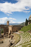Taormina Amphitheatre. Taormina theatre and Etna Mount in Sicily, Italy Royalty Free Stock Images