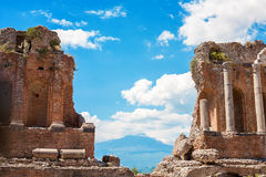 Taormina - Ancient Greek amphiteatre Royalty Free Stock Images