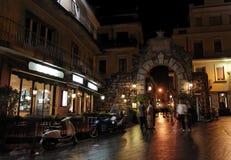 Taormina bis zum Night Stockbild