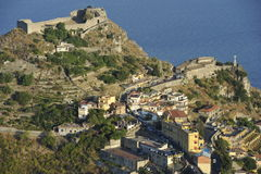 Taormina, Castle and Chapel Madonna della Rocca Stock Photography