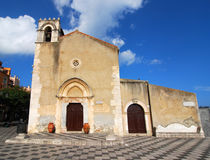 Taormina Church of Saint Augustine / Sicily. St. Augustine's Church is used today as town library, was built at the end of the 15th century by for devotion to Stock Photo