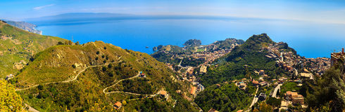 Taormina city from above Royalty Free Stock Images