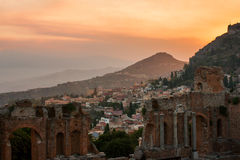 Taormina city during dramatic sunset Royalty Free Stock Photo