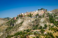 Taormina city on the rocks Royalty Free Stock Images