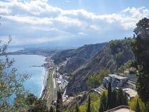 Taormina city at Sicily Stock Images
