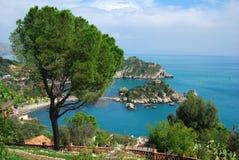 Taormina en Isola Bella (Sicilië) Royalty-vrije Stock Afbeelding