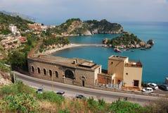 Taormina et Isola Bella (Sicile) Photographie stock libre de droits