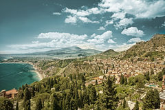 Taormina and the Etna HDR Stock Photo