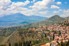 Taormina and the Etna Royalty Free Stock Image