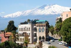 Taormina and Etna, Sicily, Italy Royalty Free Stock Photos