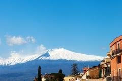 Taormina and Etna. Royalty Free Stock Photos