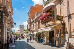 Taormina gata Fotografering för Bildbyråer