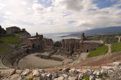 Taormina greek amphitheater in Sicily Italy Stock Photos
